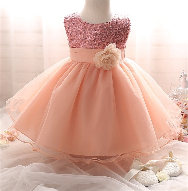 Kids Baby Girls Sequins Dress Ball Gown Pageant Party Bridesmaid Baptism Dresses