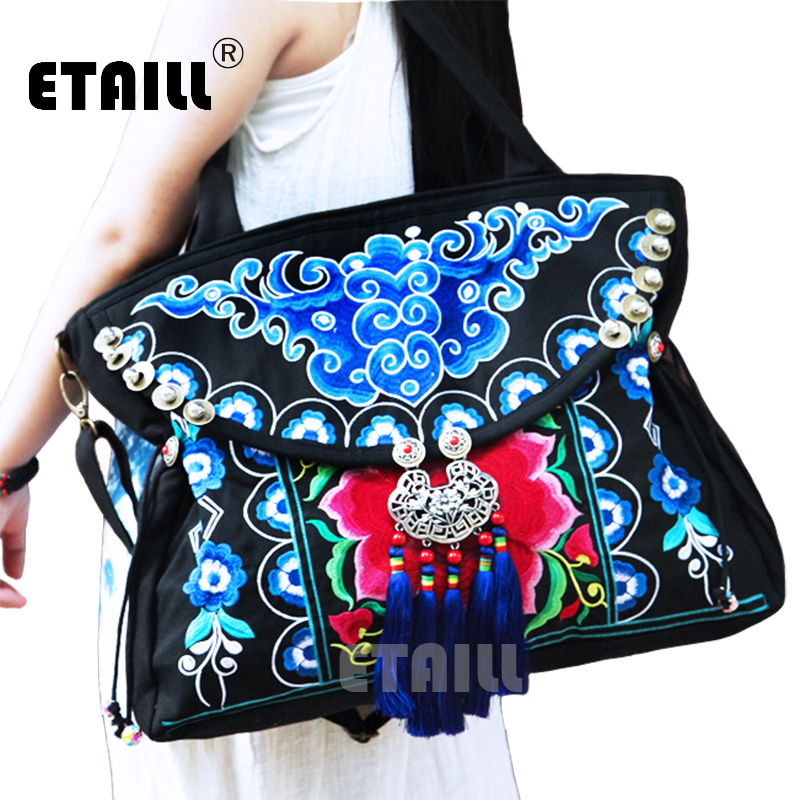 Chinese Tribal Vintage Hmong Thai Indian Ethnic Boho Canvas Embroidered Bags Boho Hippie Ethnic Brand Logo Bag Sac a Dos Femme national embroidered bags embroidery unique shoulder messenger bag vintage hmong ethnic thai indian boho clutch handbag 25 style