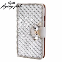 For Samsung Galaxy Ace Plus S7500 Case Luxury Bling Crystal Rhinestone Diamond Flip Leather Case Cover