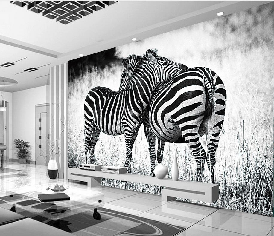 Home Decoration customized wallpaper for walls Black and white zebra  landscape photo wallpaper for walls