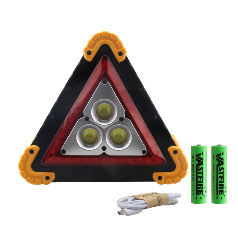 Купить с кэшбэком 25W 35W Portable Led Floodlight Lantern Triangle Warning Light Portatile Car repairing Work Rechargeable Flood Light Searchlight
