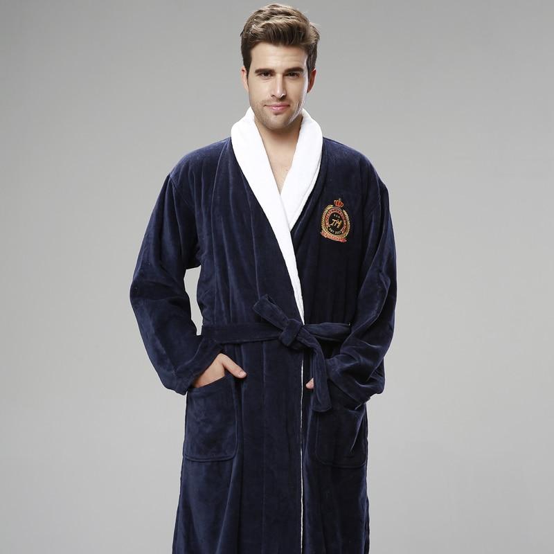 Bathrobe Men Winter Thick Warm Long Bathrobe Plus Size Towel Fleece Soft Nightgowns Bridesmaid Kimono Bath Robes Dressing Gown