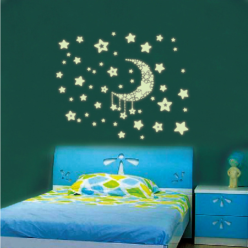 Aliexpress.com : Buy Free Shipping Luminous Stickers /fluorescent Stickers/  Moon And Stars/Wall Sticker Wall Mural Home Decor Room Moon Star Child From  ... Part 70