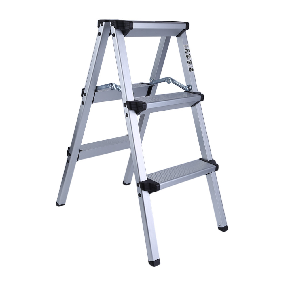 Newest Household Multi-Functional Engineering Step Stool Folding Thickening Three Layers Aluminum Alloy Herringbone Ladder цены