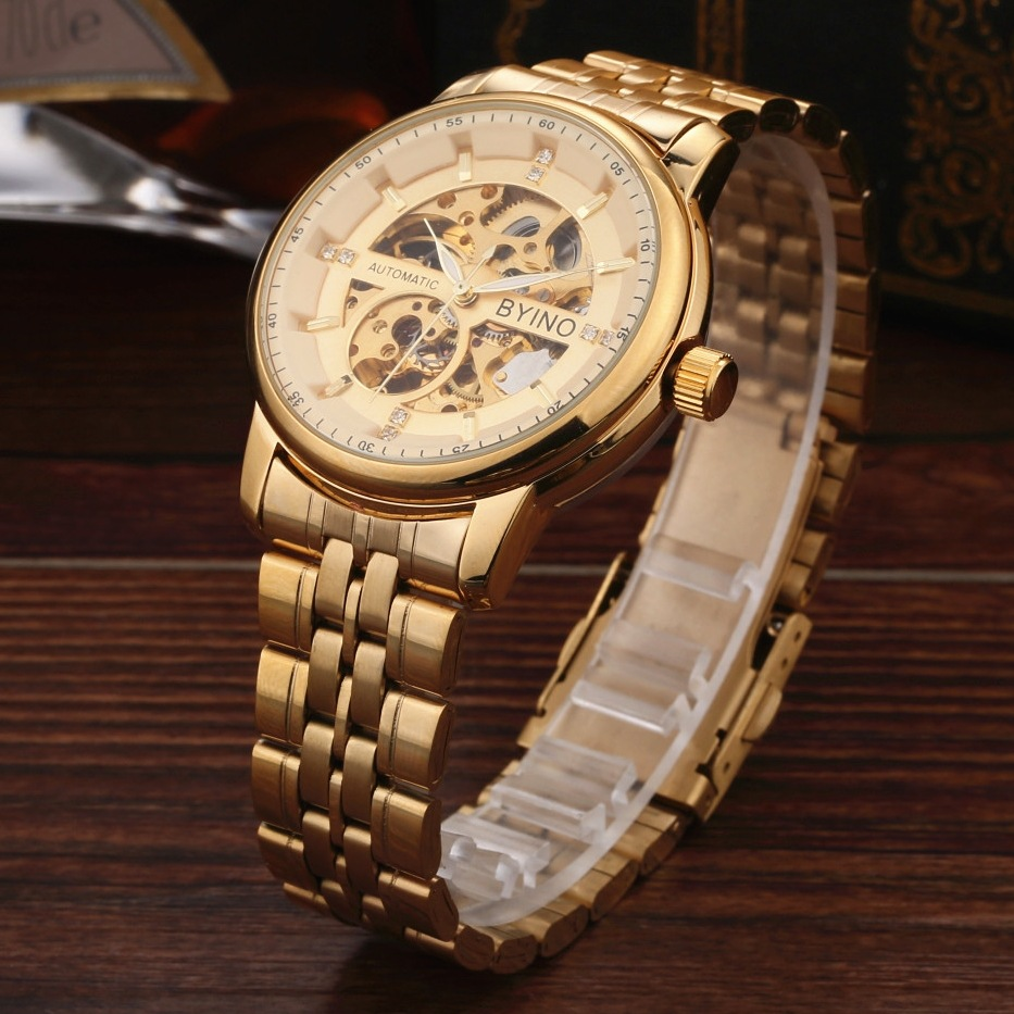 QLLS Luxury Brand Men Watch Gold Skeleton business Watches Mechanical Hand Wind Wrist watches Man's clock Reloj Hombre automatical mechanical watches qlls men luxury brand wrist watch male clock steel wristwatch men skeleton casual business watch