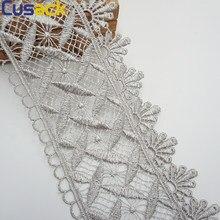 2 jardas 182 cm 9.5 cm laço fita guarnições para vestidos trajes sofá cortina guarnições bordado applique prata cinza cusack