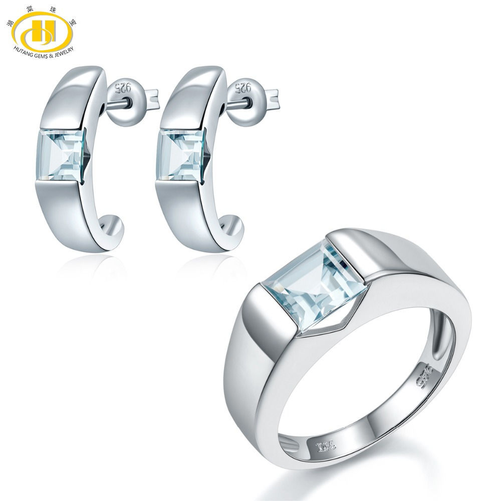 Hutang Natural Gemstone Aquamarine Princess Cut Ring & Hoop Earrings Solid 925 Sterling Silver Fine Bridal Jewelry Sets For Gift