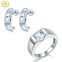 Hutang Aquamarine Stud Earrings Wedding Ring Jewelry Sets Natural Gemstone Solid 925 Sterling Silver Fine Fashion Bridal Gift