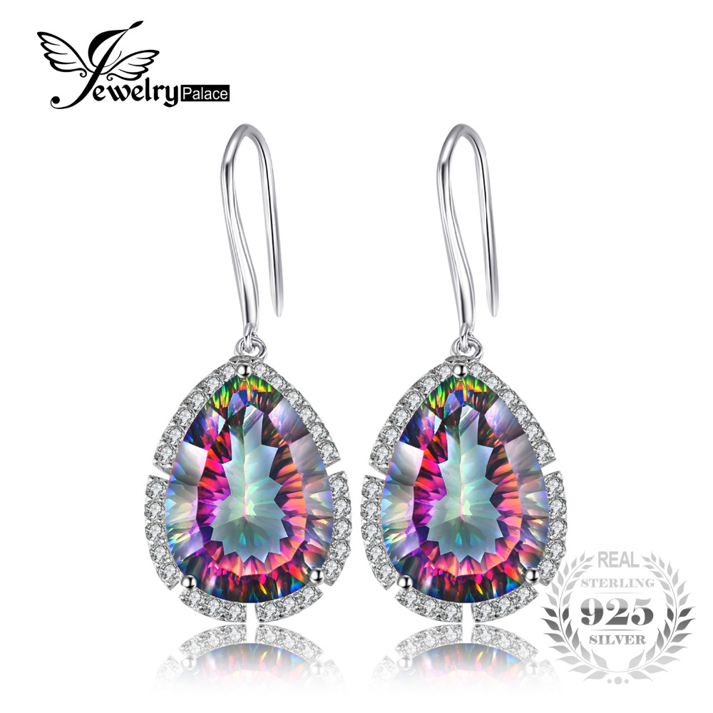 Jewelrypalace Pear 14 5ct Fire Rainbow Mystic Topaz Drop Earrings Solid 925 Sterling Silver Women Vintage Fashion Fine Jewelry
