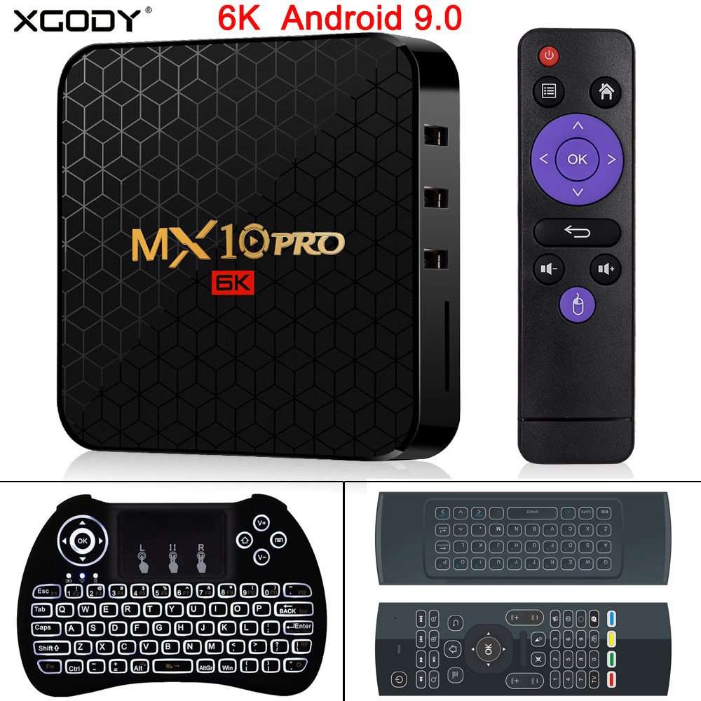 Recentes 6 XGODY K H6 MX10 Pro Allwinner Android 9.0 CAIXA de TV Quad Core 4GB GB 64 32GB HD Media Player WIFI 2.4G Set Top BOX Inteligente