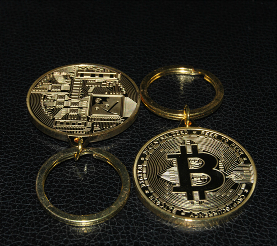 Bitcoin, Keyring, Gold, Chain, Metal, Physical