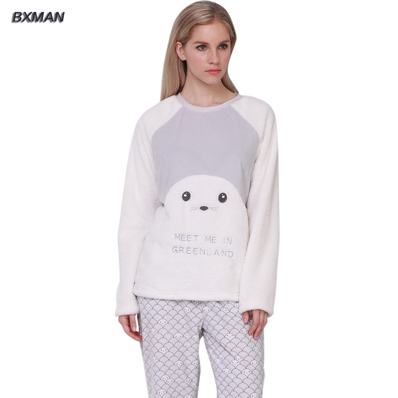 379fa7117f7a BXMAN Brand Spring Autumn Women s Pajamas Soft   Comfortable Baby Seal  Modeling Super Cute Pajamas sets Size L~XL-in Pajama Sets from Underwear    Sleepwears ...