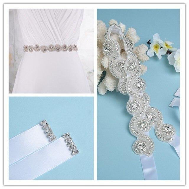 Fashion Shiny White Bridal Belts with Crystals Beads Rhinestones Wedding Belts 2016