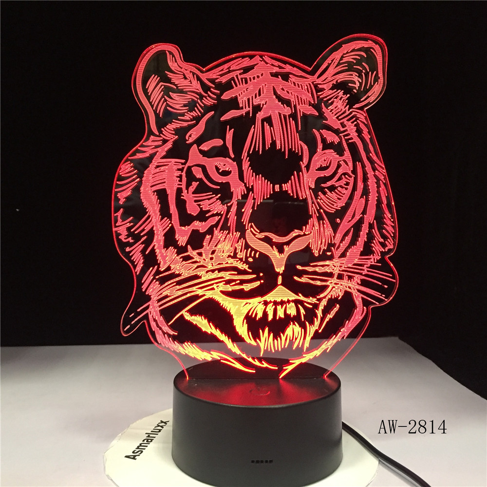 Childlike New Tiger Head Cartoon 3D LED RGB Night Light 7 Color Change USB Desk Lamp Kids Christmas Gift Home Decor AW-2814