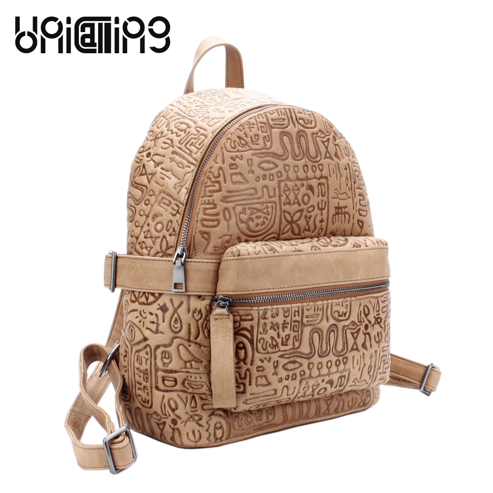 UniCalling women leather backpack fashion quality genuine leather women backpack hieroglyphic real leather small backpack female original projector lamp elplp27 for epson powerlite 54c powerlite 74c emp 74l emp 75
