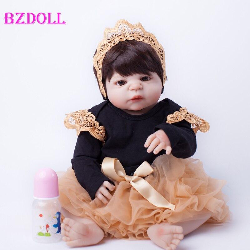 55cm Full Body Silicone Reborn Baby Doll Toys Lifelike Baby Reborn Princess Doll Child Birthday Christmas