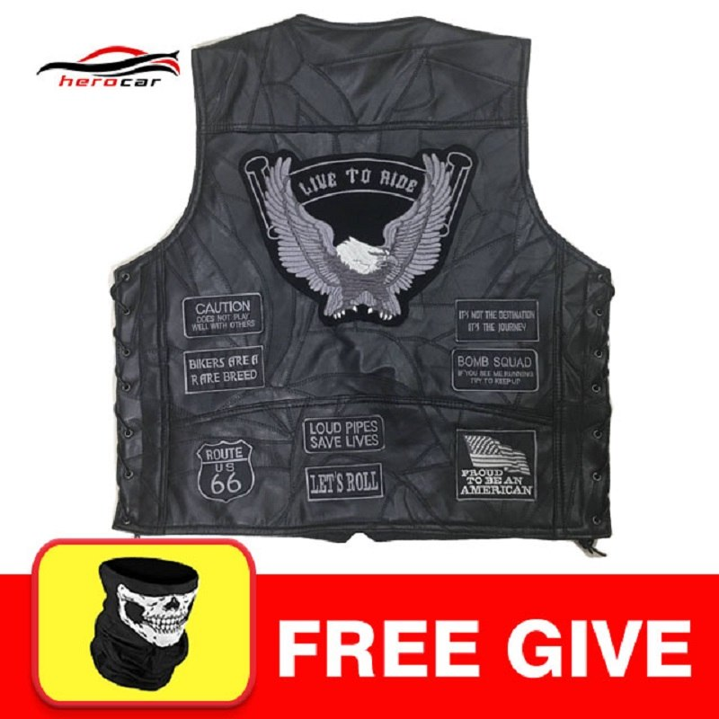 New Motorcycle Jacket Genuine Leather Vest Mens Punk Retro Classic Style Motorcycle Jacket Biker Club Casual Vest Moto Clothing free shipping new vintage brand clothing mens cow leather jackets men genuine leather biker jacket motorcycle homme fitness