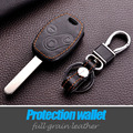 Leather Car Key Cover Case Holder Bag Wallet For Honda Accord Cr-V Civic Fit Freed Stepwgn Keyring Keychain Interior Accessories