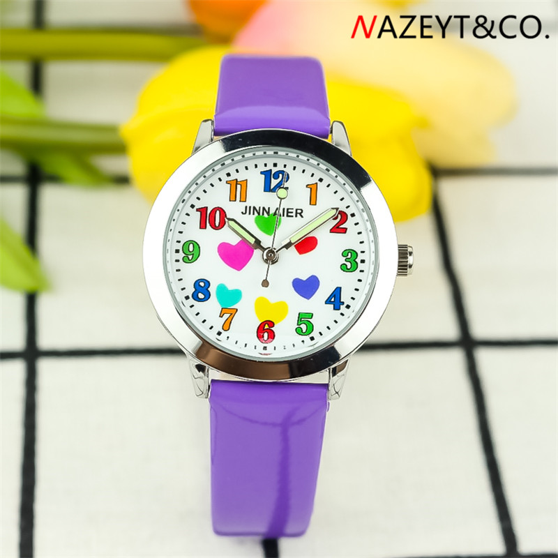 Drop Shipping Little Boys And Girls Luminous Hands Wristwatch Cute Heart Face Student Children Quartz Watch Kids Leather Clock