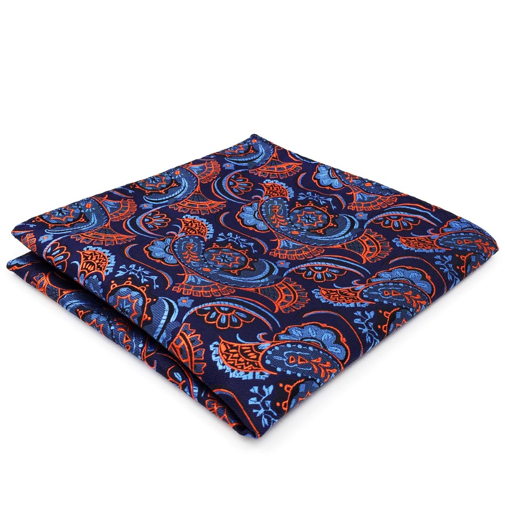 CH13 Navy Blue Orange Mens Pocket Square Geometric Paisley Handkerchief Silk