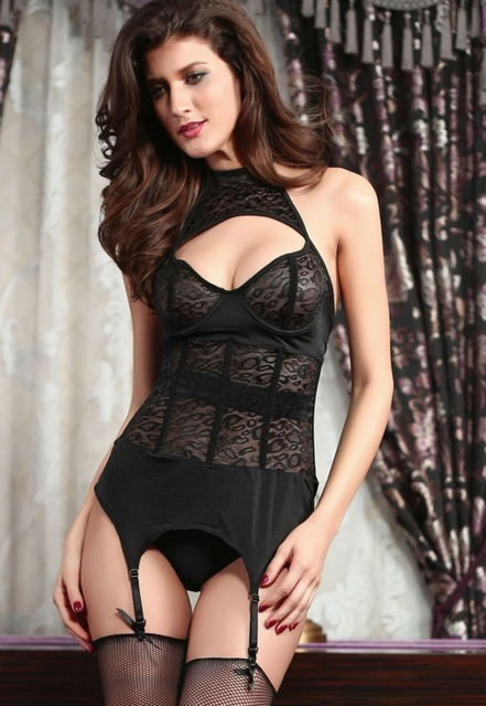 Free Shipping Hot Sale 2014 2-Pieces Sexy Women Black Leopard Mesh Bustier with Garters Lingerie Set S1128 exclude stockings