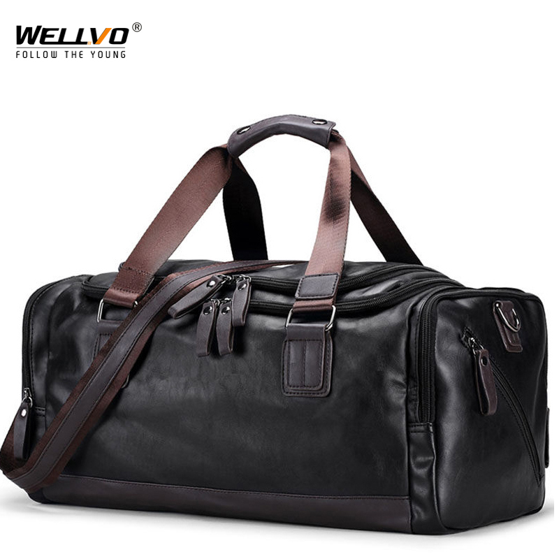 Men's Duffel Leather Bag Soft Fabric Travel Luggage Tote Handbag for Male Trip Shoulder Men Large Weekend Casual Black XA66WC ahri casual business men travel bags large capacity rolling travel handbag black leather mens duffel bag for short trip