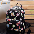 Guapabien Fashion 2016 Women Backpack GrilFloral Print Backpack Dual Purpose Leather Softback Bag  School Bag Rucksack feminina