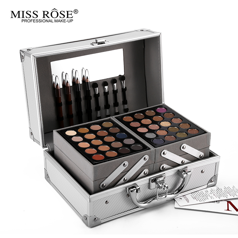 Miss Rose Colour Makeup Suits Artist Professional 3Layers Of Silver Aluminum Box With Brush Mirror Multifunctional Cosmetic Tool 1