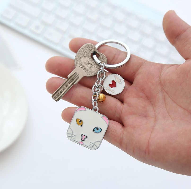 Gwwfs carré chat hommes bijoux voiture Couple porte-clés Classiv datation/anniversaire/fête/cadeau porte-clés 2019 nouveau Couple porte-clés en métal