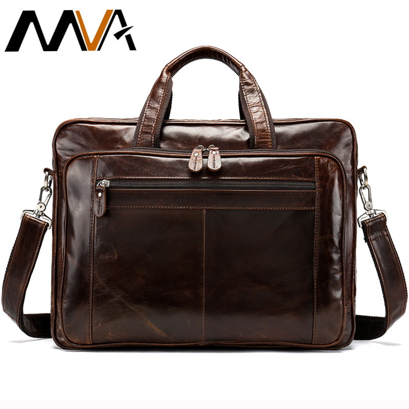 MVA Men's Briefcase For Documents Bag Men's Genuine Leather 15''Laptop Bag Big Computer Bags Travel Tote Business Briefcase 7320