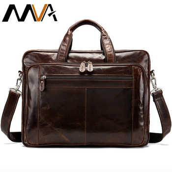 MVA Men's Briefcase for Documents Bag Men's Genuine Leather 15''Laptop Bag Big Computer Bags Travel Tote Business Briefcase 7320 - DISCOUNT ITEM  46% OFF All Category