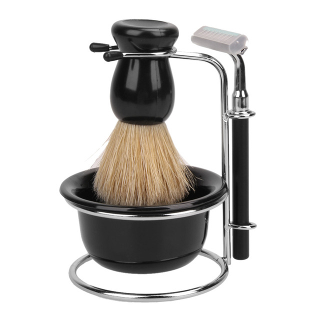 Professional Bristle Hair Shaving Brush + Stainless Steel Shaving Brush Stand Holder +Rrazor + Bowl Mug Hair Shaving Tool Set