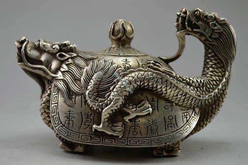 Théière en forme de Dragon sculpté en argent tibétain - 2
