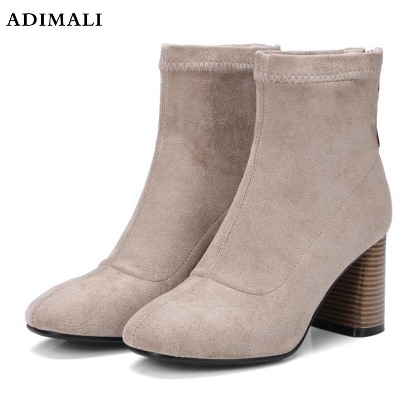 2017 Woman Shoes Sexy Zip Up Square High Heels Party Women Boots Winter Top top sexy woman top