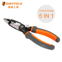 SHEFFIELD 8 Inches 5 In 1 Multifunctional Electrician Needle Nose Pliers Wire Stripper Cutter Crimping Pliers