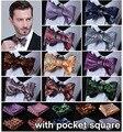 Floral 100% de Seda Tecido Jacquard Homens bow tie, casamento Borboleta Auto Bow Tie Bolso Praça Handkerchief BowTie Set Hanky Suit CEF