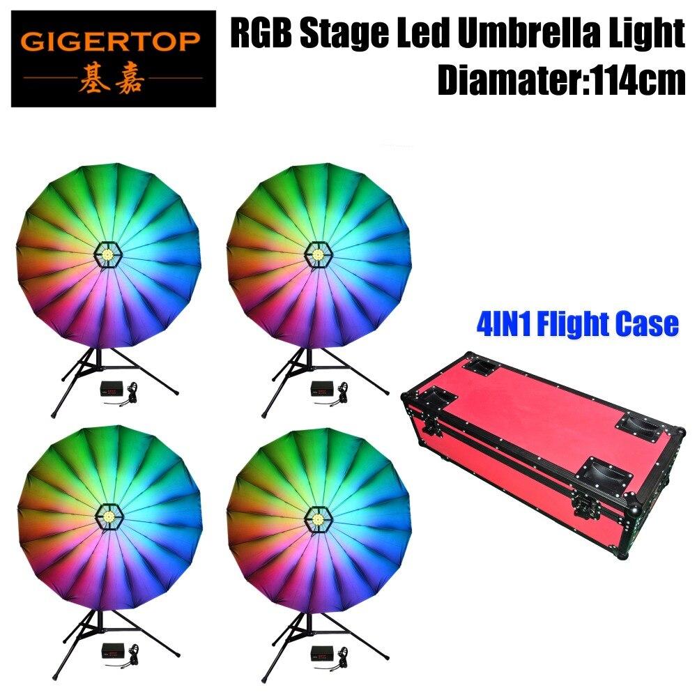 Bonne qualité TP-UM25 114 cm 12 W 114X0.2 W RGB scène parapluie lumière 7 couleur changeante 6/24 canaux 4 affichage nombres LED boîte 25 pouces