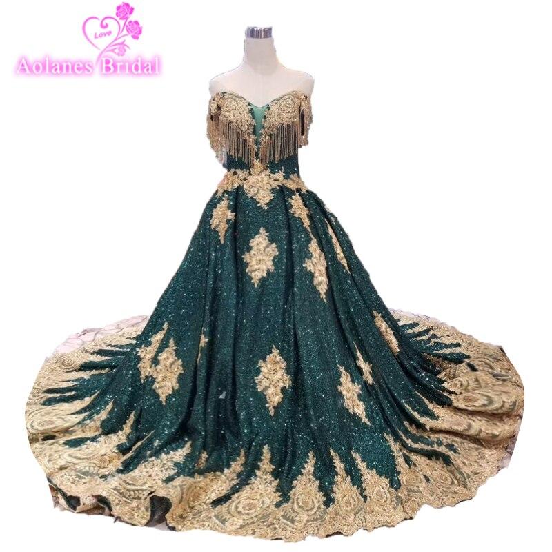 2019 Vintage longue robe de bal paillettes brillant or délicate Appliques robe de bal vert foncé (Blings tomber est Normal) pour la fête