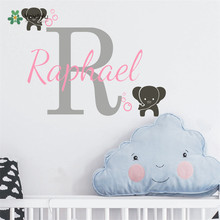 Custom Personalized Any Name With Initial Wall Decal For Kids Baby Room Decor Cute Elephants Vinyl Sticker Art DecalD-323