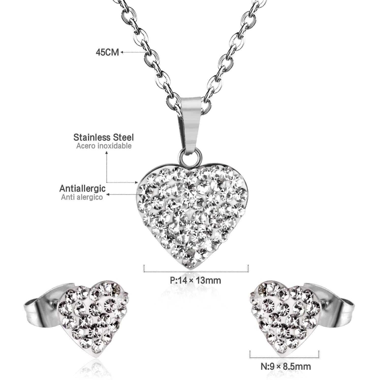 LUXUKISSKIDS Gold heart-shaped Jóias branco lama Aço Inoxidável Colar Brinco Conjuntos de jóias de Casamento presente