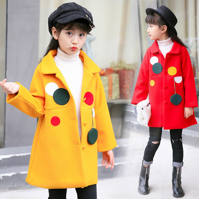 80958be23559 Children s fashion girl winter coat woolen coat new solid color long ...
