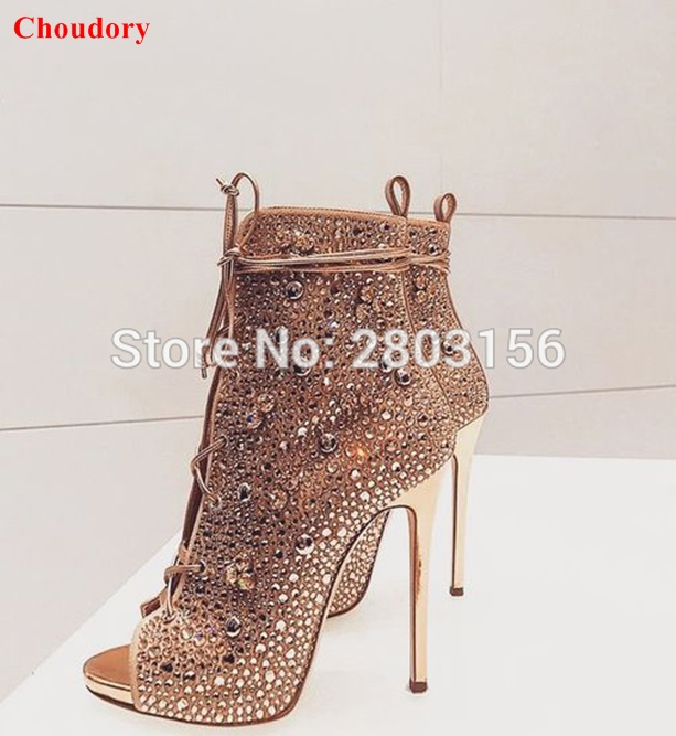 Hot Selling Crystal Cut Outs Party Shoes Woman Peep Toe Booties Lace Up Stiletto High Heels Rhinestone Ankle Boots women fashion lace up cut out ankle boots sexy high heels black party shoes open toe short booties stiletto pumps zg938 73