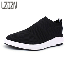 Net summer breathable mesh shoes without laces lazy men shoes sandals knitting summer middle-aged male fly line.