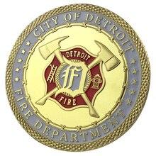 Город Детройт пожарный отдел/DFD Золотая монета/сувенир/на заказ монета/монета 1169