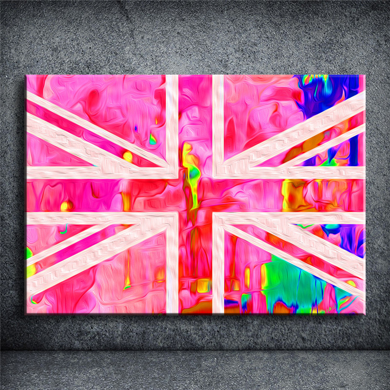 COLOURFUL UK FLAG Print On Canvas Colourful Painting Bar Pub Cafe Wall Art Picture Living Room