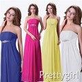 0020 strapless maxi cristal azul branco rosa cor chiffon vestido formal prom vestido