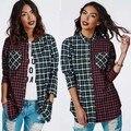 2015 nueva moda Casual Tops blusa de cuello de cobertura de manga larga Plaids patrón de impresión camisa de franela