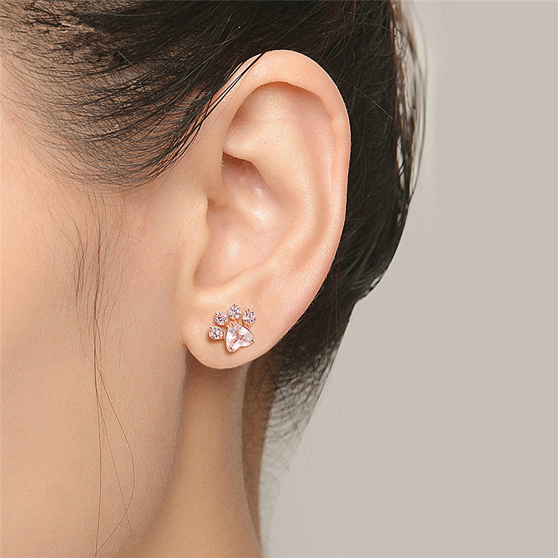 Rose Gold Pink Cat Paw Stud Earrings