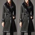 Women genuine wool Fur coat black color real Sheep leather long slim winter jacket big fox Fur collar feminino natural fur coats