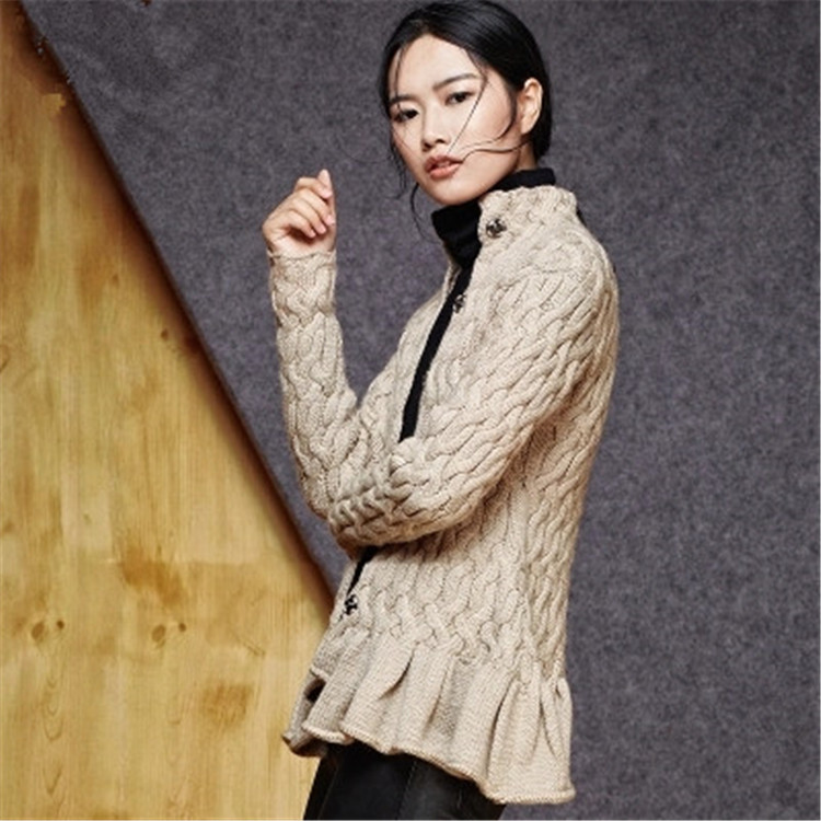 Hand Made Pure Wool Thick Knit Women Fashion Solid Stand Collar Loose Single Breasted Cardigan Sweater One&over Size